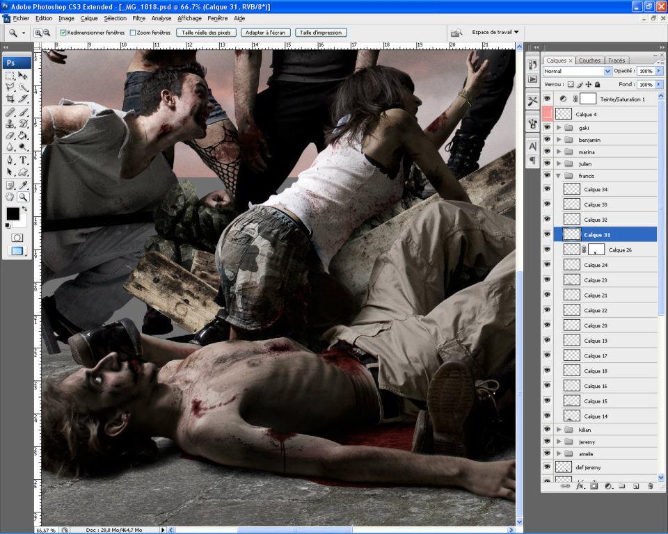 making-of et retouches photoshop de 43 zombies pour la liberté guidant le peuple © Kevin Amiel