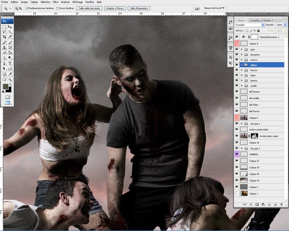making-of et retouches photoshop de 4 zombies pour la liberté guidant le peuple © Kevin Amiel