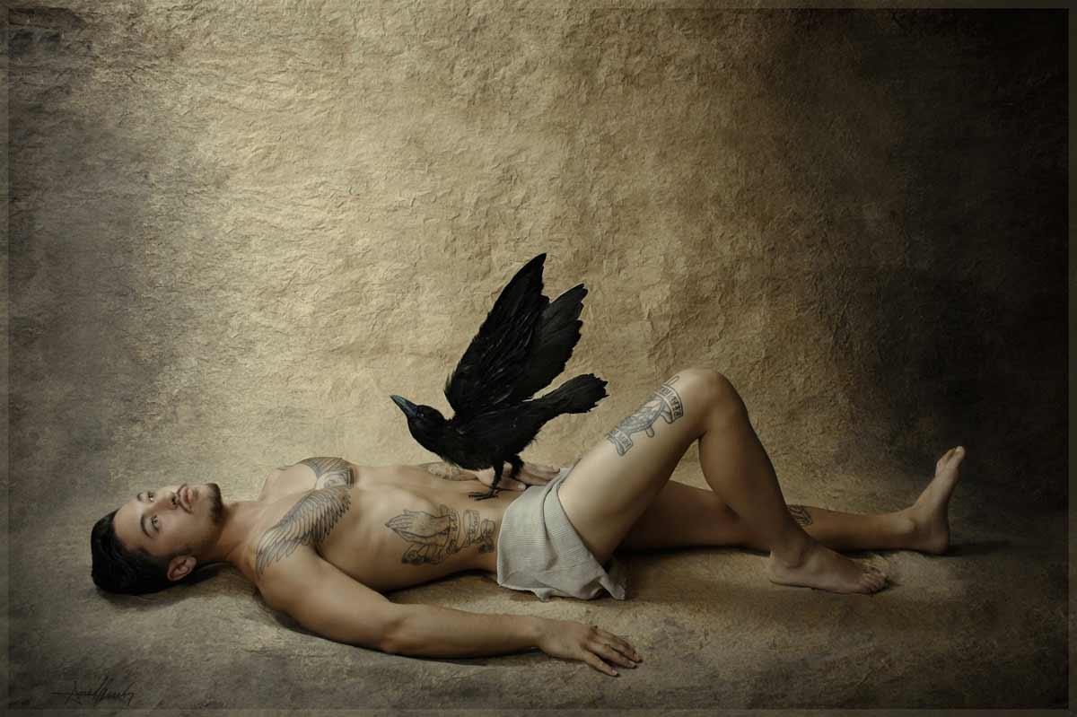Daivd et le corbeau en saint Vincent de Saragosse © Kevin Amiel