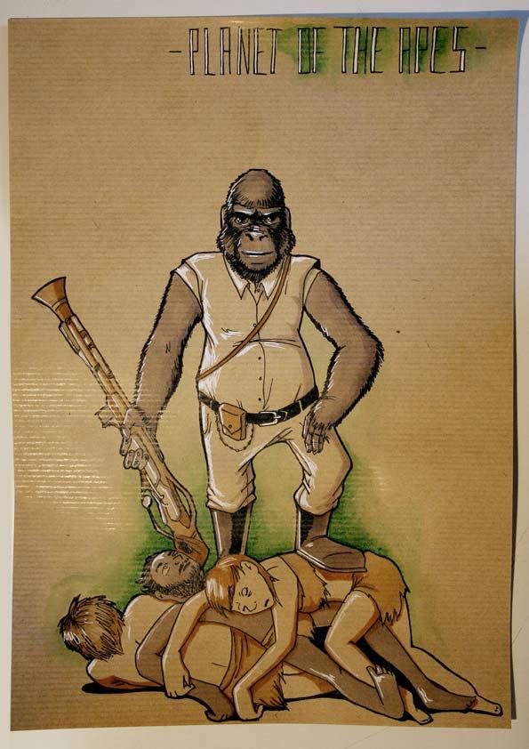 dessin préparatoire représentant un gorille chasseur posant fièrement devant ses proies © Kevin Amiel