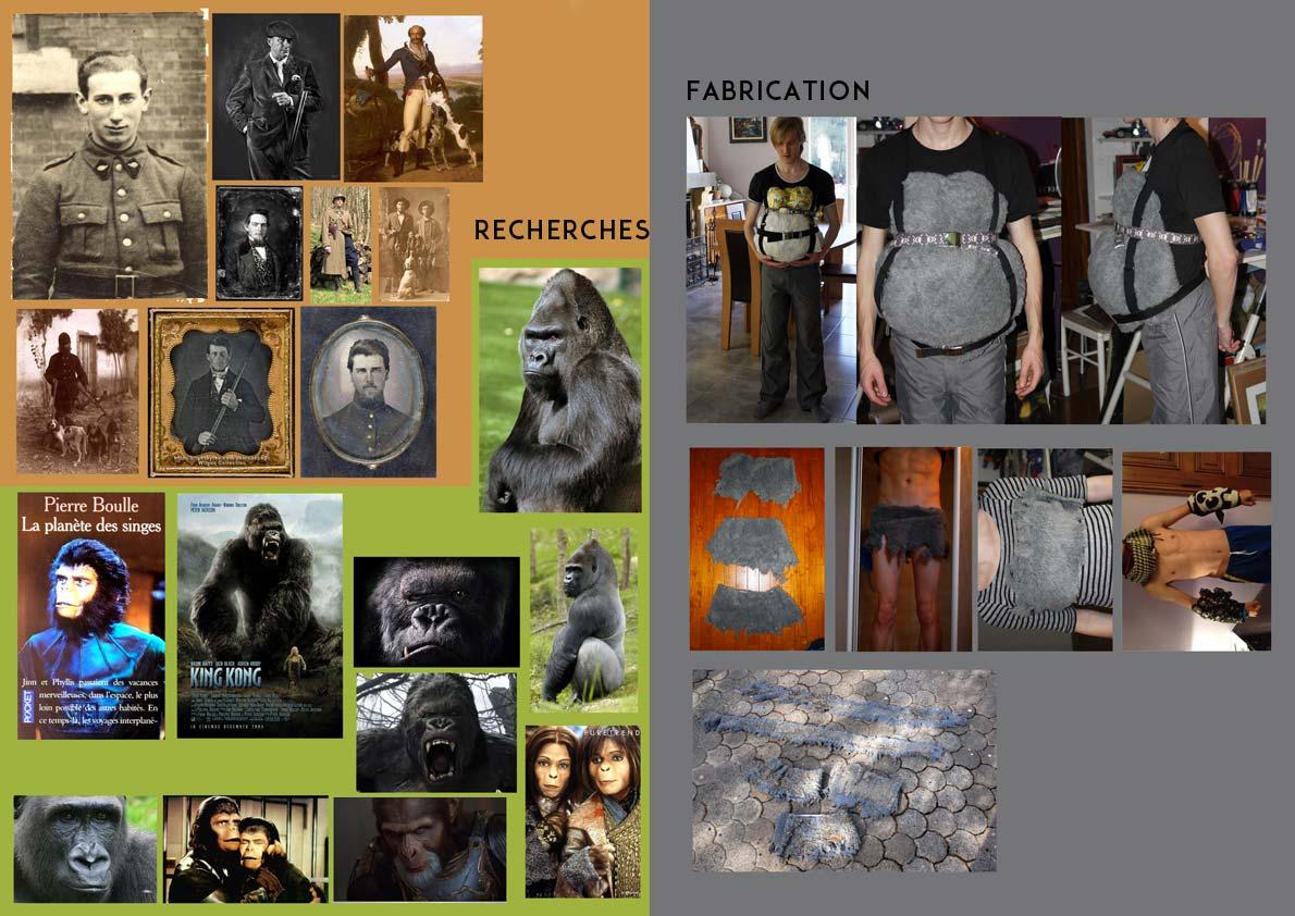 Planche de recherches sur les gorilles et les daguerréotypes © Kevin Amiel