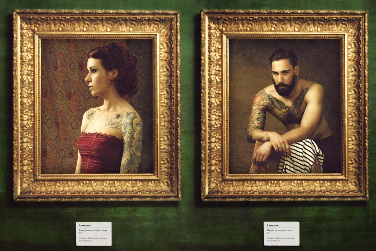 """Portrait de Laetitia en courtisane et Samuel en marin pour le """"tattoo project"""" © Kevin Amiel"""