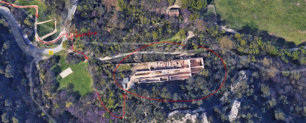 Vue aérienne d'une partie du Parc de Saint Pons à Gémenos