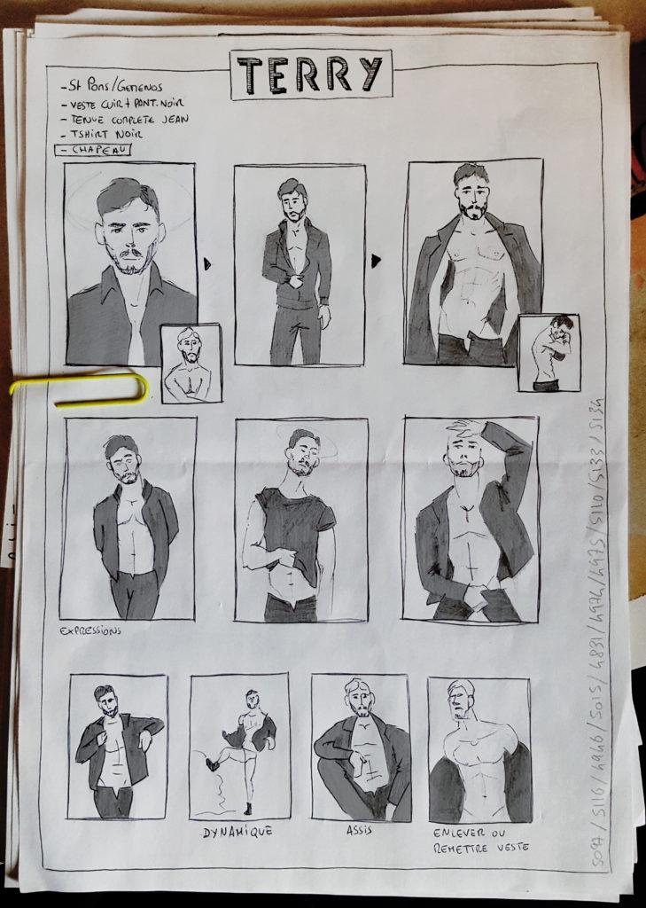 Croquis réalisés avant la séance photos avec Terry pour définir les styles de poses et de cadrages désirés.
