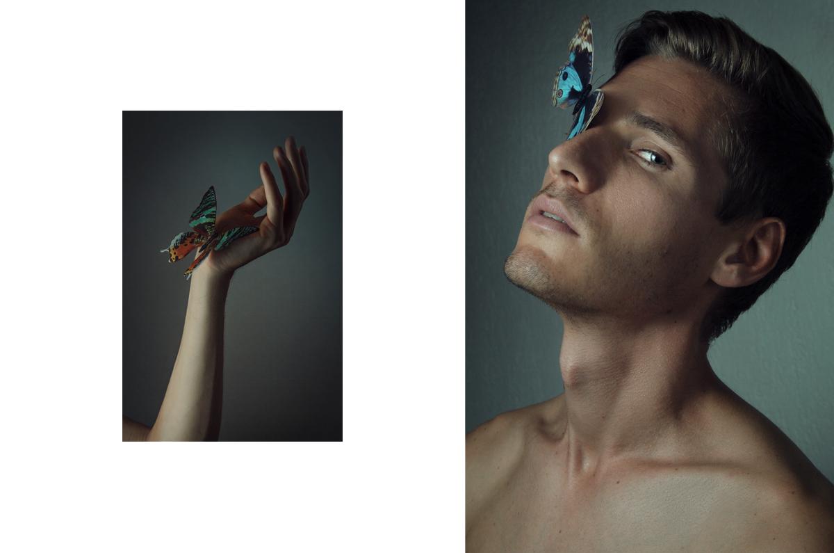 Diptyque artistique de Samir posant avec des papillons par © Kevin Amiel
